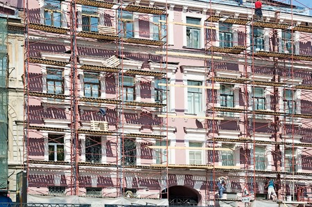 remount: Saint-Petersburg, Russia - May 13, 2006: scaffolding during reconstruction of old building