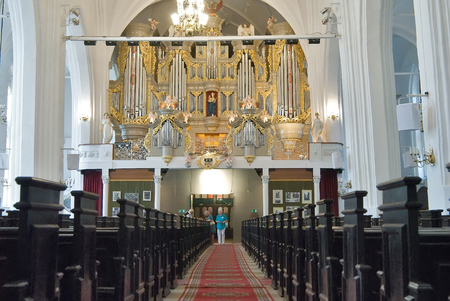 pipe organ: Kaliningrad, Russia - July 1, 2010: Inside view of cathedral hall with pipe organ on kant island