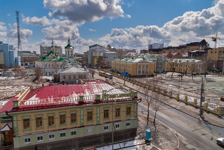 spassky: Tyumen, Russia - April 27, 2008: Aerial view on Ermolaev restaurant, church of Saviour, Pioneer Palace of arts and Tyumen state university Editorial