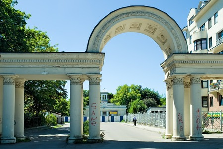 colonel: Kaliningrad, Russia - June 27, 2010: Columns with arch on Safronov colonel street
