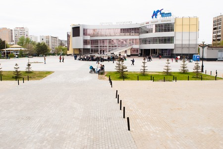 bases: Tyumen, Russia - May 9, 2010: View onto Art Palace. Because of mistakes in design the bases hasnt been open, and now it is demolished Editorial