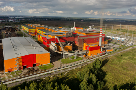 steel works: Tyumen, Russia - August 25, 2015: JSC UGMK-Steel. Iron and steel works. Steel-smelting shop. View from quadcopter
