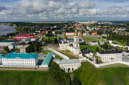 Bird eye view onto Tobolsk Kremlin. Tyumen region