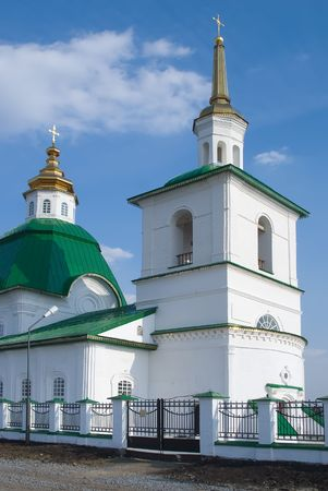 church steeple: Preobrazhenka, Russia - May 2, 2010: Saviour Preobrazheniyas Church. Tobolsk district
