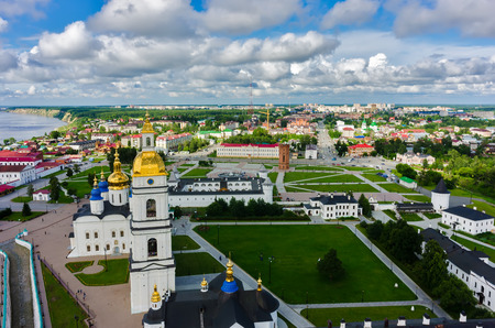 Tobolsk, Russia - July 15, 2016: Bird eye view onto Tobolsk Kremlin with St. Sophia-Assumption Cathedral and belltower in summer day. Tyumen region