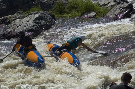 threshold: Beklenischevo, Russia - June 12, 2005: Water sportsmen in threshold