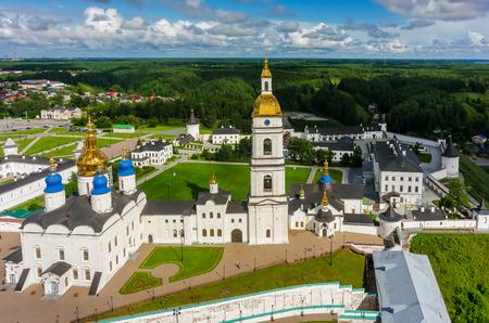 embrasure: Tobolsk, Russia - July 15, 2016: Bird eye view onto Tobolsk Kremlin with St. Sophia-Assumption Cathedral and belltower in summer day. Tyumen region