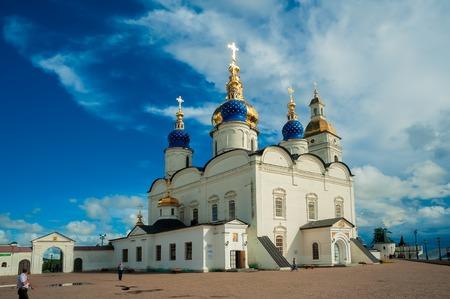 Tobolsk, Russia - July 15, 2016: Kremlin complex. St Sophia-Assumption Cathedral and belltower 1587 foundation year Editorial