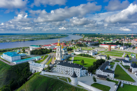 Aerial view onto Tobolsk Kremlin with St. Sophia-Assumption Cathedral and belltower in summer day. Tyumen region