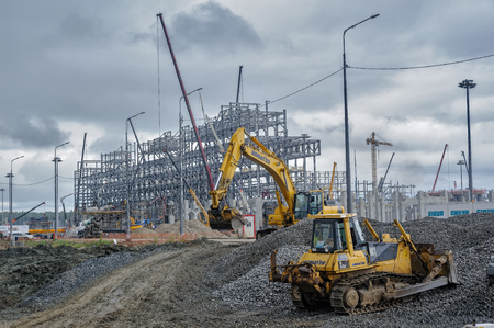 raw materials: Tobolsk, Russia - July 15. 2016: Sibur company. Construction of plant on processing of hydrocarbonic raw materials