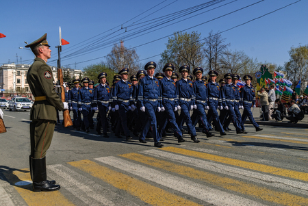 Tyumen, Russia - May 9. 2009: Parade of Victory Day in Tyumen. Company of traffic police officers march on parade Editorial