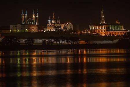 shadowgraph: Kazan Kremlin. Mosque Kul Sharif. Tatarstan Russia. Night landscape shallow DOF