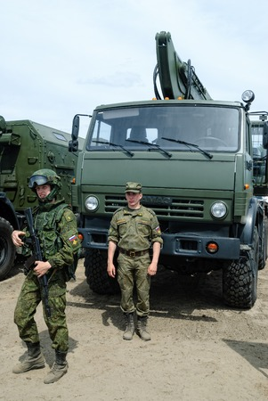 gunner: Tyumen, Russia - June 11, 2016: Race of Heroes project on the ground of the highest military and engineering school. Cadets of Tyumen highest military and engineering command school