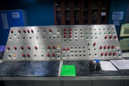 meter box: Tobolsk, Russia - July 15. 2016: Sibur company. Central control panel of Tobolsk Polymer plant. The control panel of conveyor on production of polypropylene