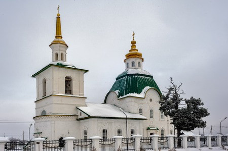 Saviour Preobrazheniya Church in winter. Preobrazhenka. Tobolsk district. Russia Stock Photo