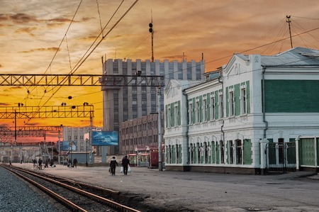 Tyumen, Russia - May 1, 2006: Aerial view onto Train Station at twilight Editorial