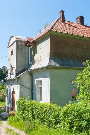 Yantarny, Russia - June 22, 2010: Residential building on Sovetskaya street in Kaliningrad region