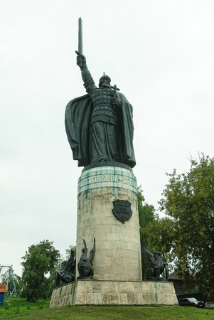 Monument of Russian folk fairy tale hero - Ilya Muromets, hero of Russian epic in ancient town Murom, Russia Editorial