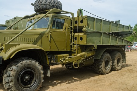 Tyumen, Russia - June 11, 2016: Race of Heroes project on the ground of the highest military and engineering school. Truck with mechanized bridge TMM-3 Redakční