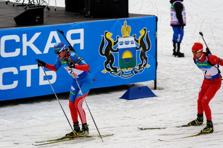 Tyumen, Russia - April 7, 2012: Biathlon the Race of Champions in the Pearl of Siberia center