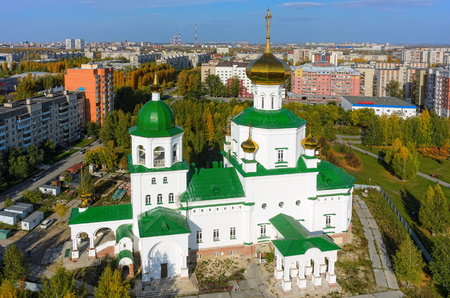Tyumen, Russia - September 26, 2016: Aerial view on temple chapel in honor of Lady Day