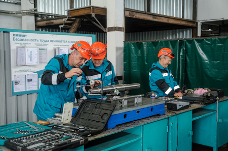 Technicians working in factory