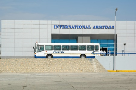Hurghada, Egypt - November 5, 2006: Hurghada International Airport. Bus for transportation of passengers at airport terminal