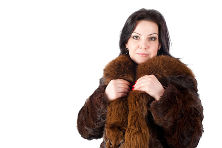 elegance fashion girls look sensuality young: Portrait of a beautiful woman wearing winter coat