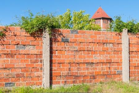 Yantarny, Russia - June 22, 2010: Fence of Kaliningrad Amber Factory
