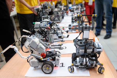 Tyumen, Russia - February 16. 2017: Open championship of professional skill among youth. World skills Russia Tyumen - 2017. Robots made of Lego blocks