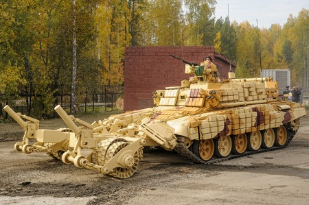 clearer: Nizhniy Tagil, Russia - September 25. 2013: BMR-3M. Armoured deminer to demine pathways for column march. It move on the shooting demonstration range. RAE-2013 exhibition