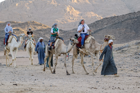 Hurghada, Egypt - November 10, 2006: People ride on camels in tourist village Editorial