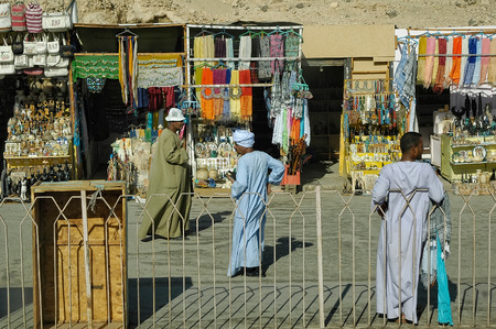 furniture store: Luxor, Egypt - November 13. 2006: Market for tourists near Hatshepsut temple in queen valley Editorial
