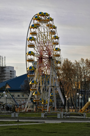 Tyumen, Russia - October 23, 2005: view of the big wheel on Cvetnoy Boulvard