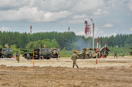 Tyumen, Russia - June 21, 2017: Army Games. Safe Route contest. Motion of military konvoy