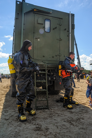 Tyumen, Russia - June 21, 2017: Army Games. Safe Route contest. Military divers demonstrate equipment Editorial
