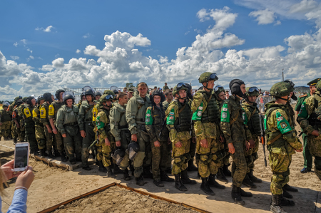 bullet proof: Tyumen, Russia - June 21, 2017: Army Games. Safe Route contest. Highest military and engineering school ground. Soldiers prepare for rewarding