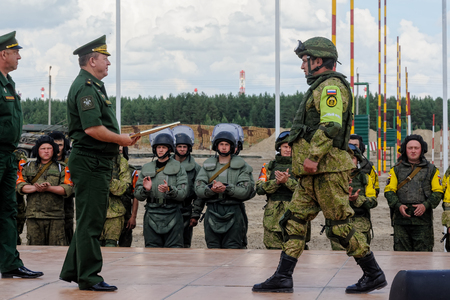 bullet proof: Tyumen, Russia - June 21, 2017: Army Games. Safe Route contest. Highest military and engineering school ground. Awards ceremony of winners