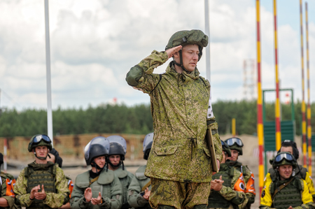Tyumen, Russia - June 21, 2017: Army Games. Safe Route contest. Highest military and engineering school ground. Awards ceremony of winners