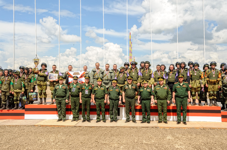infantry: Tyumen, Russia - June 21, 2017: Army Games. Safe Route contest. Highest military and engineering school ground. Awards ceremony of winners