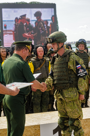 infantry: Tyumen, Russia - June 23, 2017: Army Games. Engineering Formula contest. Highest military and engineering school ground. Awards ceremony of winners