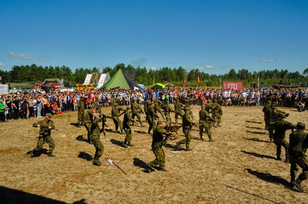 Tyumen, Russia - July 1, 2017: Race of Heroes project on the ground of the highest military and engineering school. Show of special troops warriors