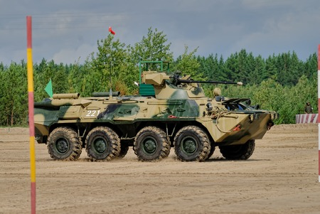 Tyumen, Russia - August 6, 2017: International Army Games. Safe Route contest. The BTR-82 amphibious armoured personnel carrier in action Editorial