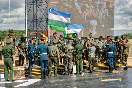 commander: Tyumen, Russia - August 6, 2017: International Army Games. Safe Route contest. Highest military and engineering school ground. Awards ceremony of winners