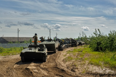 Tyumen, Russia - June 23, 2017: Army Games. Engineering Formula contest. Motion of military convoy Redakční