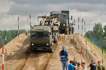 Tyumen, Russia - August 6, 2017: International Army Games. Safe Route contest. Motion of military convoy