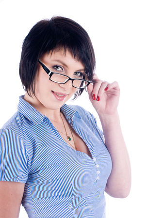 Young attractive woman with black glasses isolated over white background