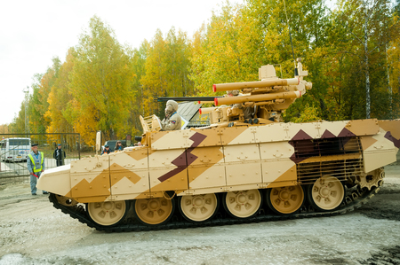 Nizhniy Tagil, Russia - September 25. 2013: Tank Support Fighting Vehicle BMPT Terminator moves on the shooting demonstration range. RAE-2013 exhibition. Russia Arms Expo-2013