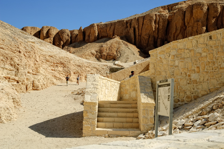Luxor, Egypt - November 13. 2006: Tourists in the Valley of Kings near Luxor. Travel in Egypt, famous Egyptian landmarks. Archaeological research in the mountains of the Valley of the Kings in the ancient Egyptian capital of Thebes Editorial