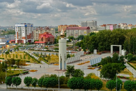 Tyumen, Russia - August 23, 2007: World War II memorial as firing candle, Siberia